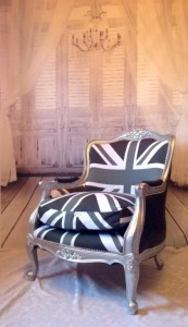 Printed fabric on Mollys Chair Warp Satin