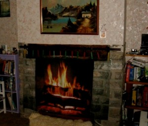 Fire place printed on textile